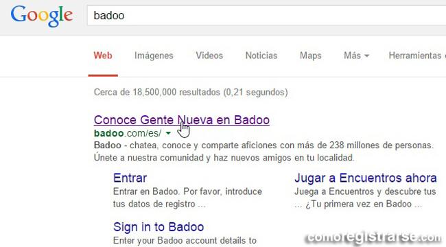 Cómo registrarse en Badoo