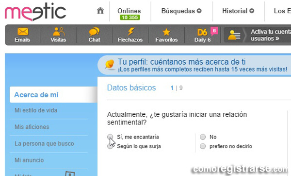 Cómo registrarse en Meetic