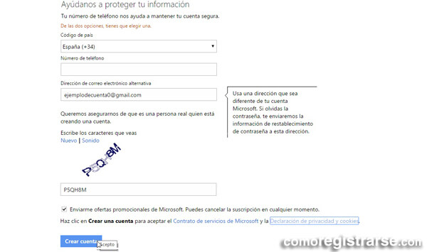 Cómo registrarse en Outlook (Hotmail)